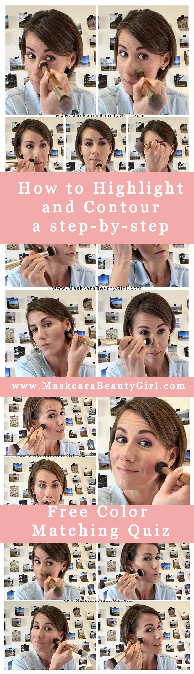 how to highlight and contour Maskcara makeup how to hac a step by step guide to Highlighting and contouring by www.maskcarabeautygirl.com